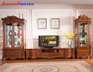 Tủ trang trí phòng khách tân cổ điển TDC004