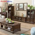Tủ trang trí phòng khách gỗ sồi tân cổ điển TCD005