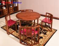 Bàn ghế ăn gỗ tự nhiên sếp gọn BGC012