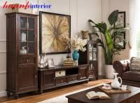 Tủ kệ phòng khách gỗ tự nhiên hiện đại TPK021