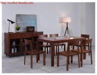 Bàn ghế ăn gỗ tự nhiên óc chó BGA035