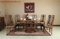 Bàn ghế ăn tròn giả cổ gỗ tự nhiên BGC013