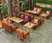 Bàn ghế sofa gỗ nhà hàng NAH 008