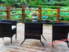 BÀN GHẾ CAFE NHỰA GIẢ MÂY MT290 - Garden and Patio Furniture