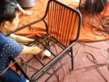 Bàn ghế giả mây - Hướng dẫn đan ghế cafe nhựa giả mây