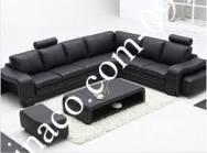 Sofa da đen đẹp sang trọng