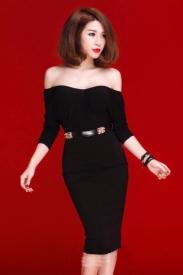 Đầm đen bẹt vai ôm body thiết kế sang trọng #471