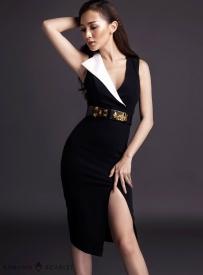 Đầm đen xẻ tà ôm body thiết kế giả vest sang trọng #483