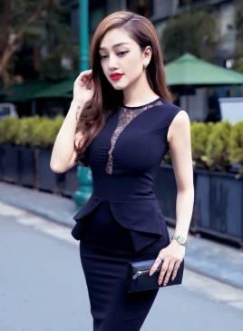 Đầm đen peplum dự tiệc thiết kế ôm body phối ren sang trọng #593