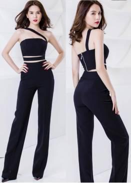 Bộ áo quần của Ngọc Trinh thiết kế quần ống suông trẻ trung #596
