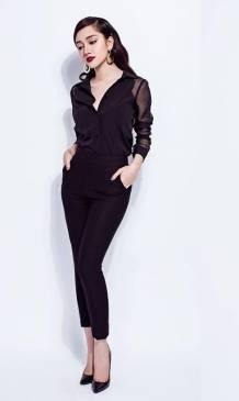 Bộ áo sơ mi đen pha lưới và quần ôm lưng cao trẻ trung #579