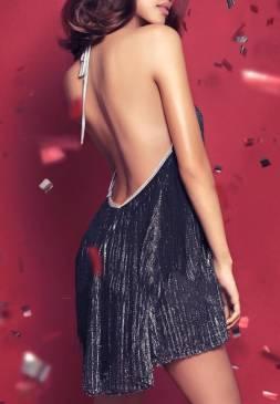 Đầm suông hở lưng dự tiệc thiết kế dạng yếm sexy #663