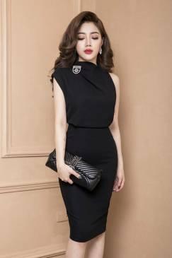 Đầm đen sang trọng quý phái thiết kế ôm body tôn dáng #695