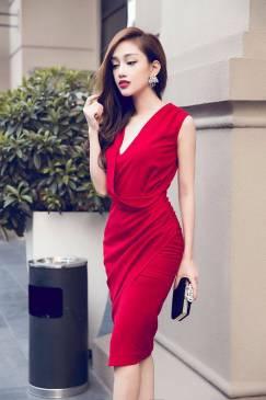 Đầm đỏ dự tiệc thiết kế ôm body che được khuyết điểm #704