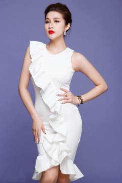 Đầm trắng ôm body dự tiệc thiết kế tôn dáng, trẻ trung #713