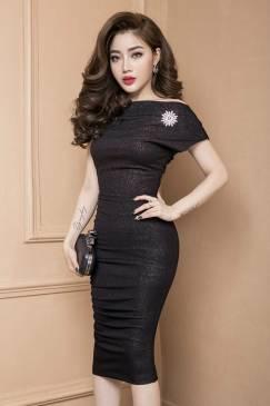 Áo đầm đẹp ôm body thiết kế lệch vai tôn dáng, trẻ trung #717