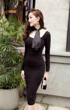 Đầm ôm body màu đen thiết kế tôn dáng, tuyệt đẹp #719