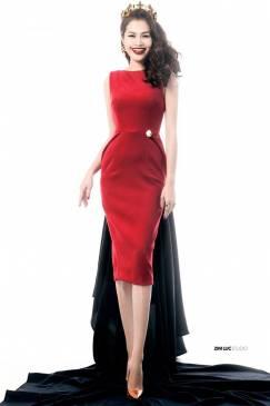 Đầm đỏ đẹp dự tiệc cưới thiết kế ôm body sang trọng #720
