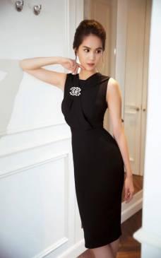 Đầm đen ôm body như Ngọc Trinh thiết kế sang trọng, quý phái #724