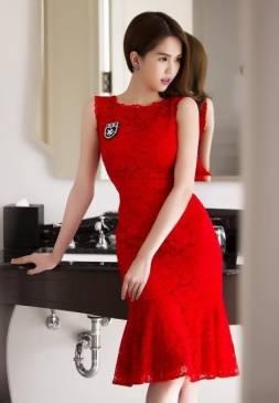 Đầm ren đỏ dự tiệc cưới thiết kế đuôi cá đẹp như Ngọc Trinh #728