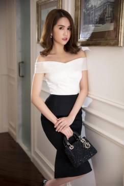 Đầm ôm body Ngọc Trinh thiết kế vai ngang tuyệt đẹp #732