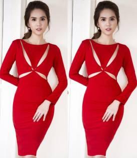 Đầm đỏ dự tiệc Ngọc Trinh thiết kế ôm body tôn dáng #734