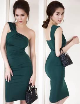 Đầm lệch vai đẹp thiết kế ôm body tôn dáng như Ngọc Trinh #736