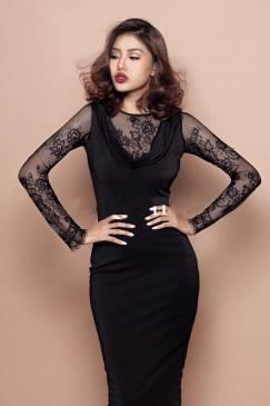 Đầm đen ôm body sang trọng thiết kế pha ren quý phái #745
