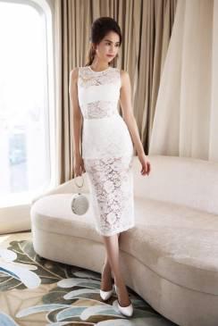 Đầm ren trắng dự tiệc cưới thiết kế ôm body như Ngọc Trinh #748