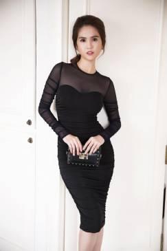 Đầm đen ôm body Ngọc Trinh thiết kế tôn dáng, tuyệt đẹp #749