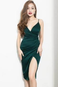 Đầm dự tiệc sang trọng thiết kế 2 dây chéo ngực tuyệt đẹp #758