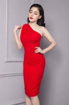 Đầm đỏ lệch vai dự tiệc thiết kế ôm body tôn dáng #766