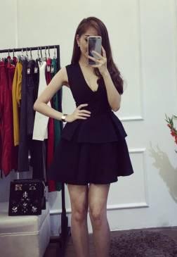 Đầm xòe đen đẹp sang trọng thiết kế xòe 2 tầng #812