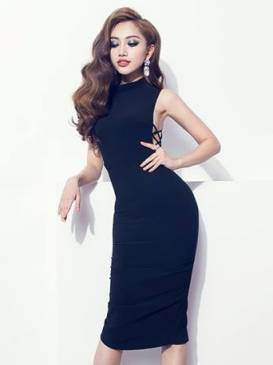 Váy đen ôm body dự tiệc thiết kế cổ cao hở nách sexy #810