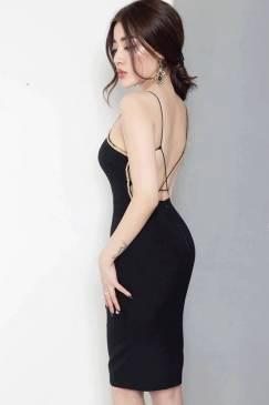 Đầm đen hở lưng đẹp thiết kế ôm body cực tôn dáng #822