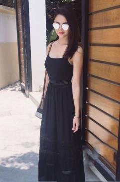 Đầm maxi đen 2 dây thiết kế viền ren tuyệt đẹp #793