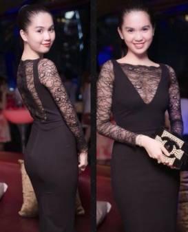 Đầm thun ôm body Ngọc Trinh thiết kế pha ren sang trọng #829