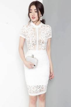 Đầm trắng dự tiệc cưới đẹp với chất liệu ren cao cấp #832