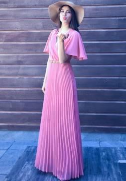 Đầm dài voan đẹp thiết kế dập ly tay cánh tiên như Phạm Hương #833