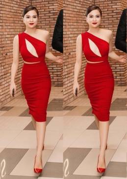 Đầm đỏ ôm body đẹp thiết kế khoét ngực như Hoàng Thùy Linh #840