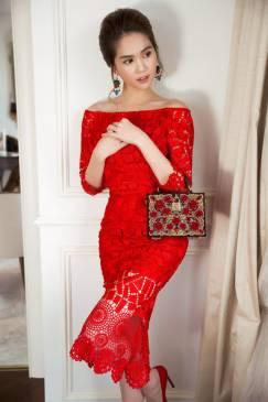 Đầm đẹp dự tiệc cưới với chất liệu ren cao cấp như Ngọc Trinh #837