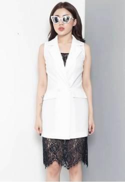 Đầm vest trắng dự tiệc cưới thiết kế phối ren sang trọng #842
