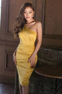 Đầm phi bóng lệch vai thiết kế ôm body xếp ly tuyệt đẹp #843