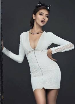Đầm trắng ôm body đẹp thiết kế phối lưới khoét ngực sexy #847