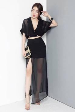 Set bộ voan áo croptop và chân váy dài xẻ tà tuyệt đẹp #848