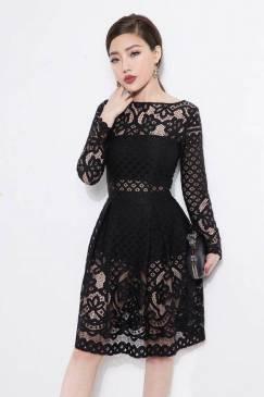 Đầm xòe đen đẹp với chất liệu ren cao cấp tinh tế #857