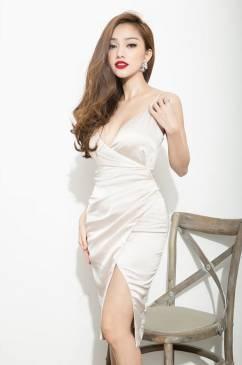 Đầm phi bóng 2 dây thiết kế ôm body xẻ tà cực tôn dáng #758