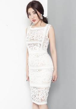 Đầm ren trắng ôm body tuyệt đẹp chất liệu ren cao cấp #859