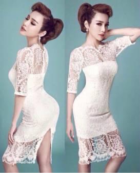 Đầm ren trắng dự tiệc thiết kế ôm body tay lỡ tuyệt đẹp #865