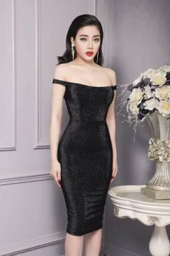 Đầm đen vai ngang ôm body chất liệu nhũ kim tuyến lấp lánh #869